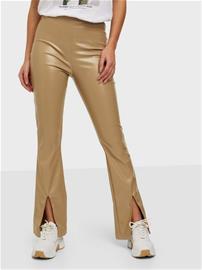 Parisian Faux Leather Split Flare Trousers Camel