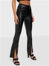 Parisian Faux Leather Split Flare Trousers Black