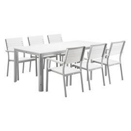 Laituri Ruokapöytä 100x200cm + 6 tuolia valkoinen
