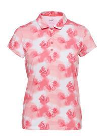 PUMA Golf W Cloudspun Watercolor Floral Polo T-shirts & Tops Polos Vaaleanpunainen PUMA Golf GEORGIA PEACH-IGNITE PINK