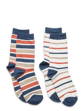 Polarn O. Pyret Socks 2p Po.P Stripe School Socks & Tights Socks Sininen Polarn O. Pyret ENSIGN BLUE