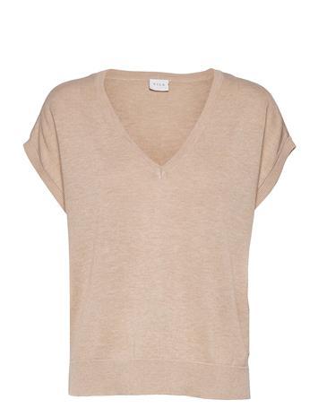 Vila Vilesly V-Neck S/S Knit Top/Pb Blouses Short-sleeved Beige Vila NATURAL MELANGE