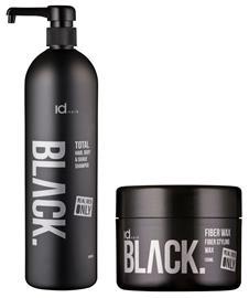IdHAIR - Black Shampoo Total 3 in 1 1000 ml + Black Fiber Wax 100 ml
