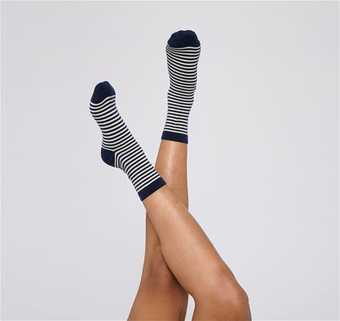 Organic Basics Raidalliset sukat - Luomupuuvillaa, Navy / 35-38