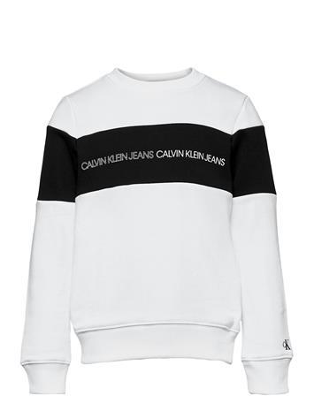 Calvin Klein Colour Block Logo Sweatshirt Svetari Collegepaita Valkoinen Calvin Klein BRIGHT WHITE, Lastenvaatteet