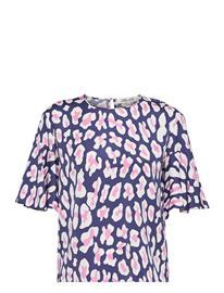 Diane von Furstenberg Dvf Arlene Top Blouses Short-sleeved Sininen Diane Von Furstenberg MARCH LEOPARD LARGE BLUE, Naisten paidat, puserot, topit, neuleet ja jakut