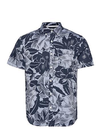 Original Penguin Tonal Floral Short Sleeve Shirt Lyhythihainen Paita Sininen Original Penguin DARK SAPPHIRE, Miesten paidat, puserot ja neuleet