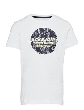 Jack & Jones Jorlefo Placement Tee Ss Crew Neck Jr T-shirts Short-sleeved Valkoinen Jack & J S WHITE
