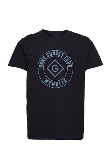 GANT D2. Sunset Club Ss T-Shirt T-shirts Short-sleeved Sininen GANT EVENING BLUE