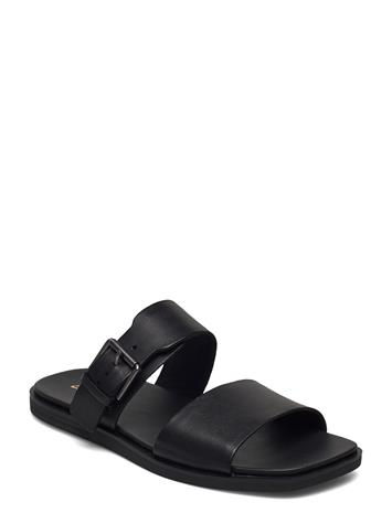 Clarks Ofra Slide Shoes Summer Shoes Flat Sandals Musta Clarks BLACK LEATHER