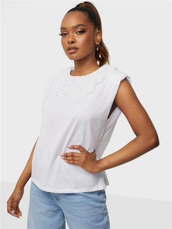 Only Onlpernille S/L Collar Top Jrs White