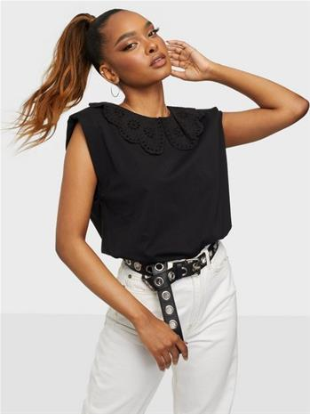 Only Onlpernille S/L Collar Top Jrs Black