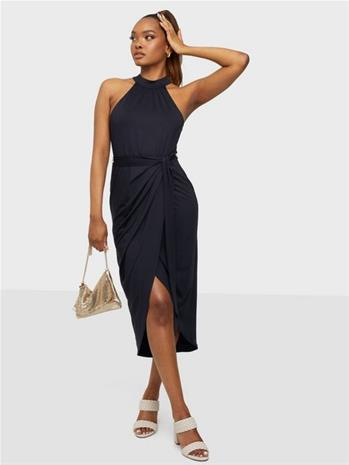 NLY Trend High Neck Pleat Dress Navy