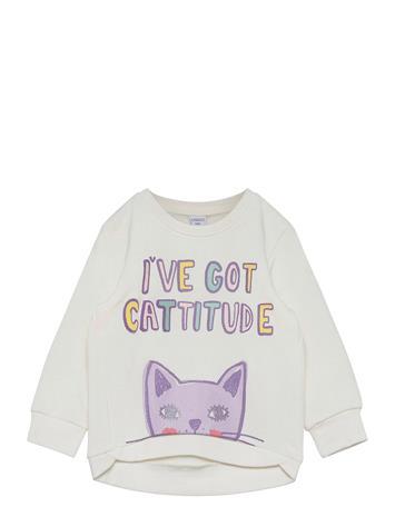 Lindex Sweater Cat Svetari Collegepaita Valkoinen Lindex WHITE
