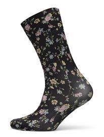 Swedish Stockings Ada Flower Socks Lingerie Socks Regular Socks Musta Swedish Stockings BLACK/MULTI