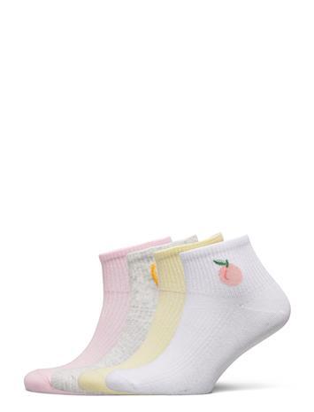Lindex Sock Ankle 4 P Fruit Short Socks & Tights Socks Monivärinen/Kuvioitu Lindex PINK