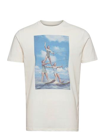 Kronstadt Clive Recycled Cotton Printed T-Shirt T-shirts Short-sleeved Valkoinen Kronstadt WATERSKI