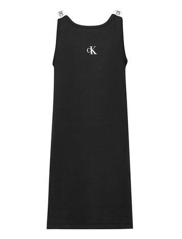Calvin Klein Logo Tape Rib Strap Dress Mekko Musta Calvin Klein CK BLACK
