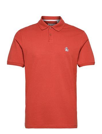 Original Penguin Raised Rib Polo Shirt Polos Short-sleeved Punainen Original Penguin RED OCHRE