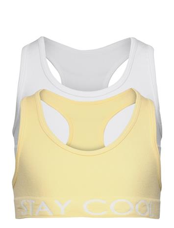 Lindex Top Seamless 2p Yellow And Whi Night & Underwear Underwear Tops Keltainen Lindex YELLOW