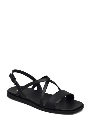 Clarks Ofra Strap Shoes Summer Shoes Flat Sandals Musta Clarks BLACK LEATHER