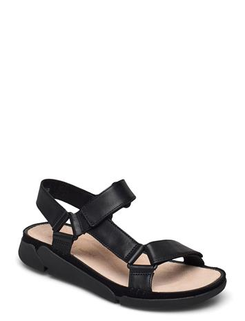 Clarks Tri Sporty Shoes Summer Shoes Flat Sandals Musta Clarks BLACK LEATHER