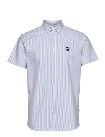 Kronstadt Johan S/S Oxford Stripe Paita Rento Casual Sininen Kronstadt WHITE / LIGHT BLUE