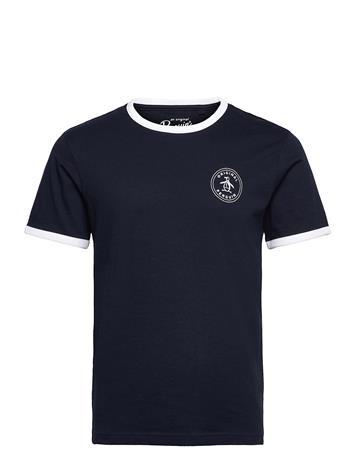 Original Penguin Ringer T-Shirt With Stamp Logo T-shirts Short-sleeved Musta Original Penguin DARK SAPPHIRE
