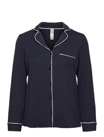 Lindex Night Shirt Dk Blue Jersey Eco Toppi Sininen Lindex BLUE