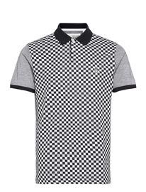 Original Penguin Check Jacquard Polo Shirt Polos Short-sleeved Musta Original Penguin DARK SAPPHIRE