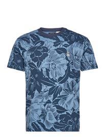 Original Penguin Floral Print T-Shirt T-shirts Short-sleeved Sininen Original Penguin DARK SAPPHIRE