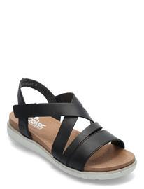 Rieker V5073-00 Shoes Summer Shoes Flat Sandals Musta Rieker BLACK