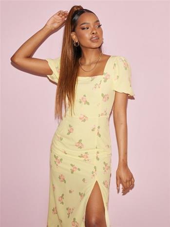 Glamorous Puff Sleeve Midi Slip Dress