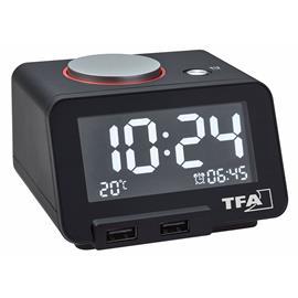 TFA HomTime 60.2017.01, herätyskello jossa kaksi usb-latausliitäntää