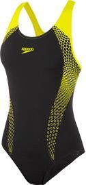 speedo Placement Laneback-uimapuku Naiset, yellow/musta