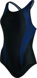 speedo Allover Panel Laneback Swimsuit Women, sininen/musta, Uintitarvikkeet