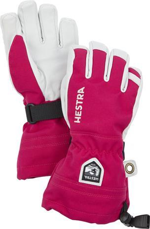 Hestra Army Leather Heli Ski 5 Finger Gloves Kids, vaaleanpunainen/valkoinen