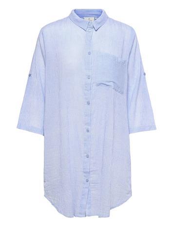 Kaffe Kavivian Shirt Dress 3/4 Sleeve Dresses Shirt Dresses Sininen Kaffe CHAMBRAY BLUE
