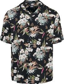 Urban Classics - Viscose AOP Resort Shirt - Lyhythihainen kauluspaita - Miehet - Monivärinen