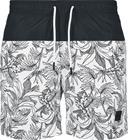 Urban Classics - Low Block Pattern Swim Shorts - Uimashortsit - Miehet - Musta valkoinen