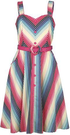 Voodoo Vixen - Serene Rainbow Gingham Flare Dress - Keskipitkä mekko - Naiset - Monivärinen