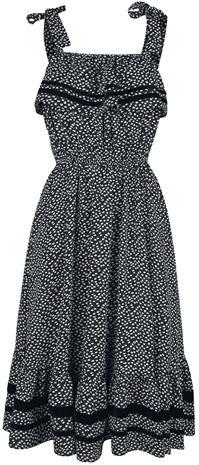 Voodoo Vixen - Mae Long Floral Flare Dress - Keskipitkä mekko - Naiset - Musta