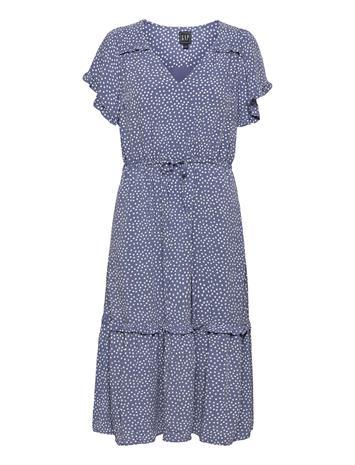 GAP Flutter Sleeve Midi Dress Dresses Everyday Dresses Sininen GAP BLUE DOT