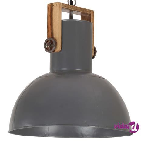 vidaXL Teollistyylinen riippuvalaisin 25W harmaa pyöreä mango 42cm E27