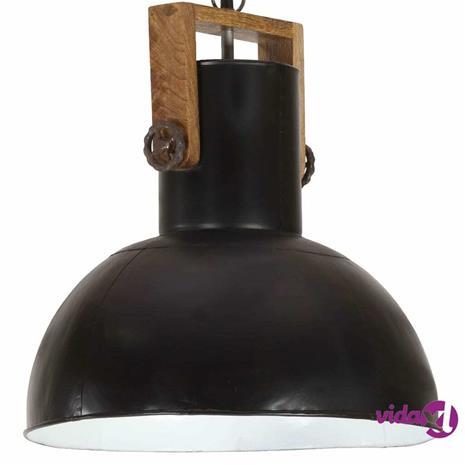 vidaXL Teollistyylinen riippuvalaisin 25W musta pyöreä mango 42cm E27