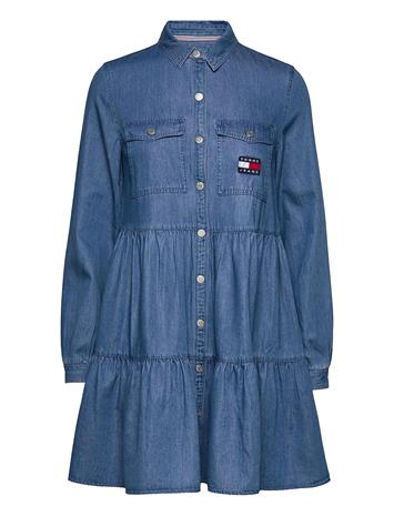 Tommy Jeans Tjw Chambray Shirt Dress Ls Lyhyt Mekko Sininen Tommy Jeans MID INDIGO