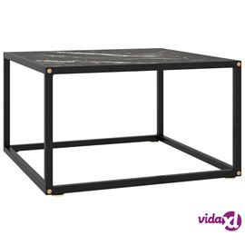 vidaXL Sohvapöytä musta mustalla marmorilasilla 60x60x35 cm