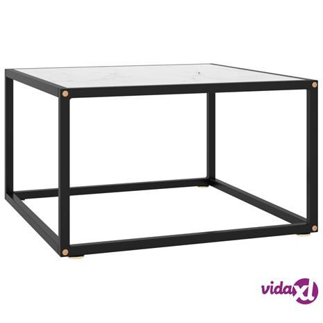 vidaXL Sohvapöytä musta valkoisella marmorilasilla 60x60x35 cm
