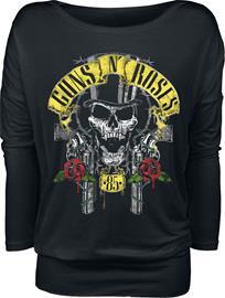 Guns N' Roses - Top Hat Skull - Pitkähihainen paita - Naiset - Musta, Naisten paidat, puserot, topit, neuleet ja jakut