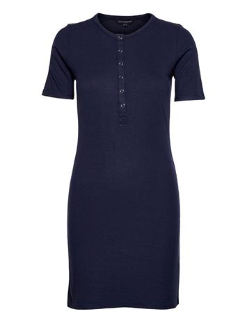 French Connection Paze Ribbed Jrsy Buttn Frnt Dr Dresses Bodycon Dresses Sininen French Connection INDIGO